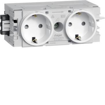 Ecoline stikkontakt 2xSCHUKO for C-profilmontage RAL9016 GS20009016
