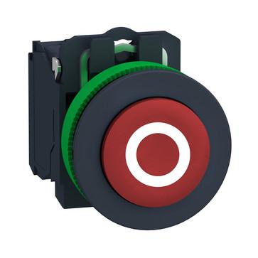 """Harmony flush trykknap komplet med fjeder-retur og ophøjet trykflade i rød farve med hvidt """"O"""" 1xNC, XB5FL4322 XB5FL4322"""