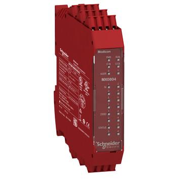 Udvidelsesmodul 8 digital inputs 4 enkelt kanaler eller 2 par OSSD Cat. 4 safety outputs, 4 test outputs, 4 Konfig. I/O ,fjeder ter XPSMCMMX0804G