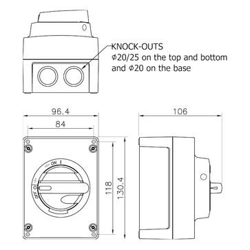 Katko Safety switch 4 Pole 20A KUM416U-YR/M20