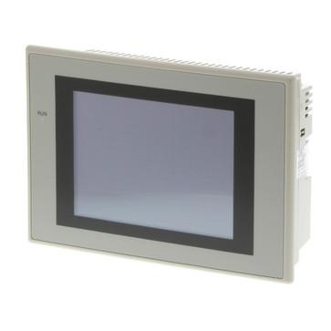 Touch screen HMI, 5,7 tommer, høj lysstyrke TFT, 256 farver (32.768 farver for .BMP/.JPG), 320x240 pixels, 2xRS-232C-porte, Ethernet (10/100 Base-T), 24VDC, 60MByte hukommelse , 24VDC, beige sag NS5-TQ11-V2 250158