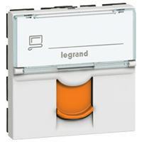 Dataudtag Mosaic 1x RJ45 Kat.6A STP modular jack 2M hvid med orange klap og tekstfelt hvid 76525
