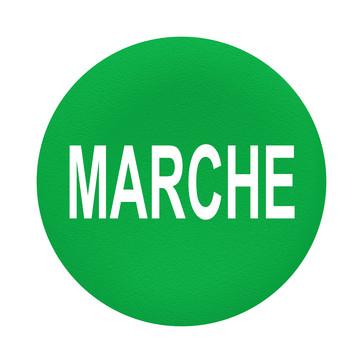 """Løs trykflade i grøn farve med hvidt """"MARCHE"""" for Ø30 mm flush trykknaphoveder uden trykflade ZBAF342"""