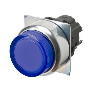 Trykknap A22NZ 22 dia., Bezel metal, projiceret, momentan, kasket farve gennemsigtig blå, tændte A22NZ-RPM-TAA 665951