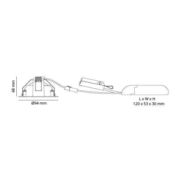 Junistar DimToWarm Hvid 560lm 2000-2800K Ra>95 DALI