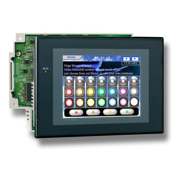 """Touch screen HMI kontroller, 5,7"""" TFT skærm med 60MB programhukommelse, 60K trin stigen program hukommelse, 128K-ord datalager, 3 ekspansion racksmAx, 1xUSB-port, 3xRS232 porte, Ethernet-port (10/100Base-T), DeviceNet mester, sort sag NSJ5-TQ11B-G5D 328952"""