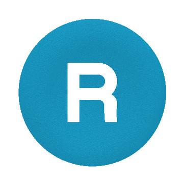"""Løs trykflade i blå farve med hvidt """"R"""" for Ø30 mm flush trykknaphoveder uden trykflade ZBAF639"""
