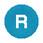 """Løs trykflade i blå farve med hvidt """"R"""" for Ø30 mm flush trykknaphoveder uden trykflade ZBAF639 miniature"""