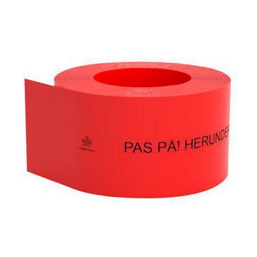 Kabelafdæk rød 100x1,8 mm i rl á 50 mtr - Pas på - herunder elkabler 10087