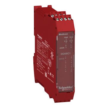 Udvidelsesmodul, 8 stk Konfigurerbar status Output  (SIL 1/PL c i overensstemmelse med EN 61508:2010) med skrue terminaler XPSMCMDO0008C1