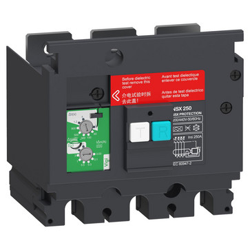 Fejlstrømsmodul, Beskyttelse, 3P, ComPacT NSX 250, 200 VAC til 440 VAC, 30 mA til 3 A = klasse A, 10 A & 30 A = klasse AC LV429492