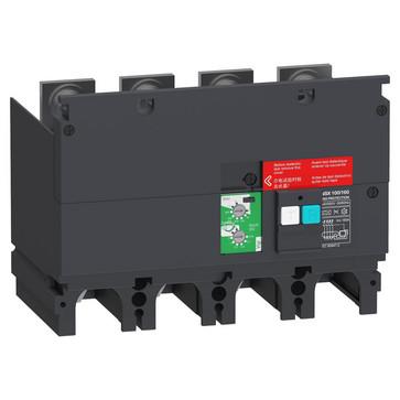 Fejlstrømsmodul, Beskyttelse, 4P, ComPacT NSX 100/160, 440 VAC til 550 VAC, 30 mA til 3 A = klasse A, 10 A & 30 A = klasse AC LV429491