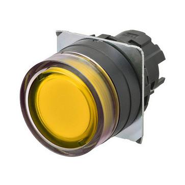 Trykknap A22NZ 22 dia., Bezel plast, fuld vagt, momentan, kasket farve gennemsigtig gul, tændte A22NZ-BGM-TYA 663382