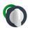 Harmony flush drejegreb i plast med et kort hvidt greb med 3 positioner og fjeder-retur fra H-til-M ZB5FD801 miniature