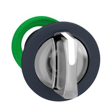 Harmony flush drejegreb i plast for LED med 3 positioner og fjeder-retur fra V-til-M i hvid farve ZB5FK1713