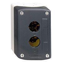 Trykknapbox tom med 2 hul grå/sort XALD02