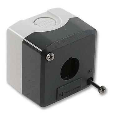 Trykknapbox tom med 1 hul grå/sort XALD01