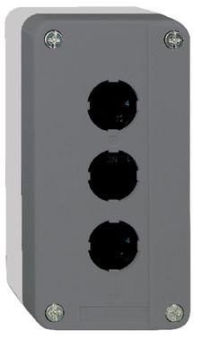 Trykknapbox tom med 3 hul grå/sort XALD03