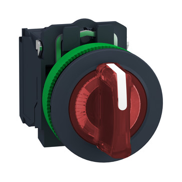 Harmony flush drejeafbryder komplet med LED og 3 faste positioner i rød 24VAC/DC 1xNO+1xNC, XB5FK134B5 XB5FK134B5