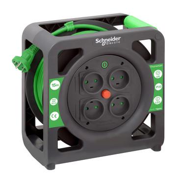 Thorsman kabeltromle 3g1,0mm15 m 4 udtag sort/grøn IMT33138