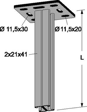 Loft-/gulvkonsol DV RUSTFRI 2000 mm 974R
