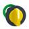 Harmony flush drejegreb i plast med et kort gult greb med 3 positioner og fjeder-retur fra H-til-M ZB5FD805 miniature