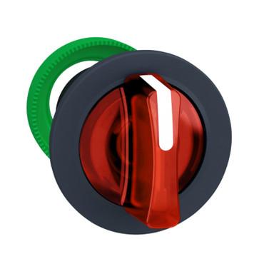 Harmony flush drejegreb i plast for LED med 3 positioner og fjeder-retur fra H-til-M i rød farve ZB5FK1843