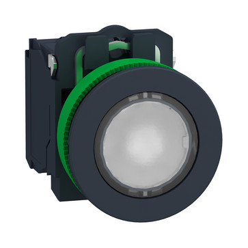 Harmony flush lampetryk komplet med LED og plan trykflade med fjeder-retur i hvid farve 110-120VAC forsyning 1xNO+1xNC, XB5FW31G5 XB5FW31G5