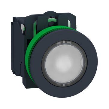 Harmony flush lampetryk komplet med LED og plan trykflade med fjeder-retur i hvid farve 230-240VAC forsyning 1xNO+1xNC, XB5FW31M5 XB5FW31M5