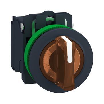 Harmony flush drejeafbryder komplet med LED og 3 faste positioner i orange 230-240VAC 1xNO+1xNC, XB5FK135G5 XB5FK135G5