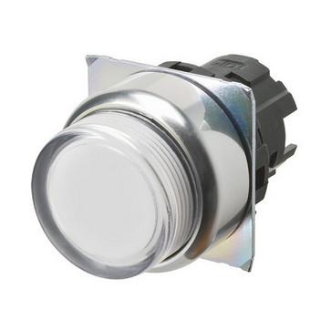 Trykknap A22NZ 22 dia., Bezel metal, projiceret, momentan, kasket farve gennemsigtig hvid, tændte A22NZ-RPM-TWA 666858