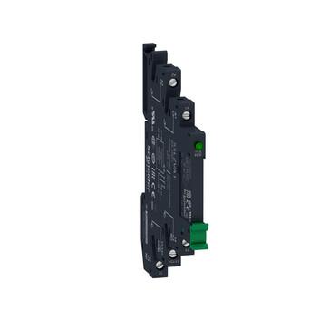 Zelio SSL Slim Solid State relæ (nulvoltskoblende) med 2A/24-280VAC udgang i sokkel med skrueklemmer og 3-12VDC forsyning SSL1A12JDPV