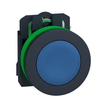 Harmony flush trykknap komplet med fjeder-retur og plan trykflade i blå farve 1xNO, XB5FA61 XB5FA61