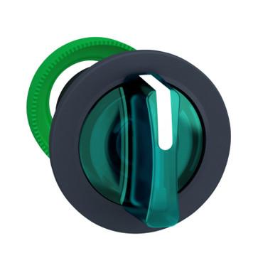Harmony flush drejegreb i plast for LED med 3 positioner og fjeder-retur til midt i grøn farve ZB5FK1533