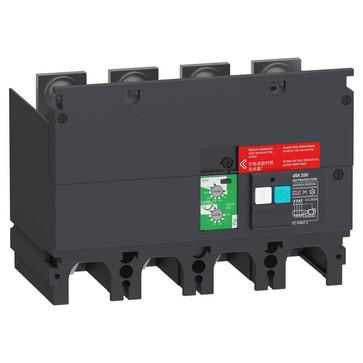 Fejlstrømsmodul, Beskyttelse, 4P, ComPacT NSX 250, 440 VAC til 550 VAC, 30 mA til 3 A = klasse A, 10 A & 30 A = klasse AC LV429495