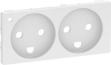 LK FUGA antibakteriel afdækning for dobbelt stikkontakt 2-polet + DK jord og LED 2 modul, hvid 580D6212