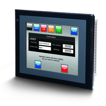Touch screen HMI, 10,4 tommer, TFT, 256 farver (32.768 farver til .BMP/.JPG), 640x480 pixels, 2xRS-232C-porte, Ethernet (10/100 Base-T), 24VDC, 60MByte hukommelse, 24VDC , sort sag NS10-TV01B-V2 209583