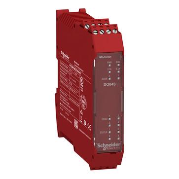 Udvidelsesmodul, 4 stk enkelt kanaler / 2 par OSSD Cat.4 sikkerheds output (PNP 400mA) 4 konfig I/O kanaler skrue terminaler XPSMCMDO0004S