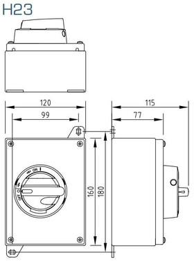 Reparationsafbryder EMC syrefast rustfri stål 3 polet 25A med sort greb KUR325T/EMC-GS