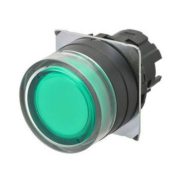 Trykknap A22NZ 22 dia., Bezel plast, fuld vagt, momentan, kasket farve gennemsigtig grøn, tændte A22NZ-BGM-TGA 662398