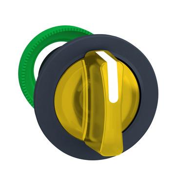 Harmony flush drejegreb i plast for LED med 3 positioner og fjeder-retur fra V-til-M i gul farve ZB5FK1783