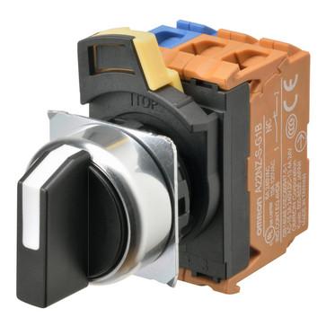 SelectorA22NS 22 dia., 2 position, IKKE-Oplyste, bezel metal,Auto reset på venstre, farve sort, 1NO1NC A22NS-2RL-NBA-G102-NN 666554