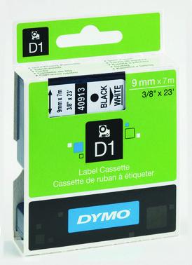 Tapekasette DYMO D1 sort/hvid 9mmx7m S0720680