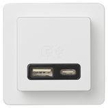 LK FUGA USB A+C 3,4 A hurtiglader 1 modul, hvid