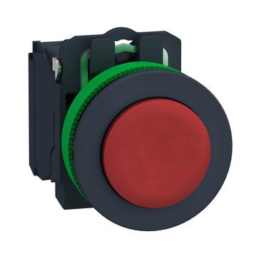 Harmony flush trykknap komplet med fjeder-retur og ophøjet trykflade i rød farve 1xNC, XB5FL42 XB5FL42