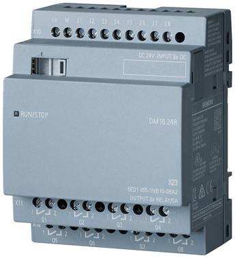 LOGO! DM16 24R, udvidelsesmodul, PU/I/O: 24V DC/24V DC/relæ, 8 DI/8 DO 6ED1055-1NB10-0BA2