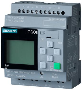 LOGO! 24CE,logisk modul, display PU/I/O: 24V/24V/24V transistor, 8DI (4AI)/4DO 6ED1052-1CC08-0BA1