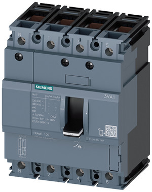 Maksimalafbryd,fs100,32A,4p,25ka,tm210 10 x in kabel ubeskyttet 3VA1032-3ED46-0AA0