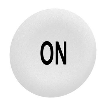 """Løs trykflade i hvid farve med sort """"ON"""" for Ø30 mm flush trykknaphoveder uden trykflade ZBAF141"""