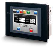 Touch screen HMI, 5,7 tommer, høj lysstyrke TFT, 256 farver (32.768 farver for .BMP/.JPG), 320x240 pixels, 2xRS-232C-porte, Ethernet (10/100 Base-T), 24VDC, 60MByte hukommelse , 24VDC, sort urkasse NS5-TQ11B-V2 250159